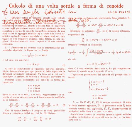 Calcolo di una volta sottile a forma di conoide