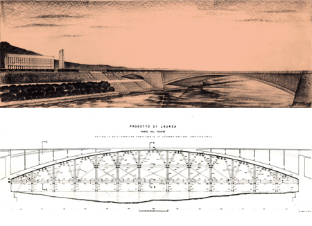 "Degree thesis: design of a ""Risorgimento"" type bridge over the Tiber"